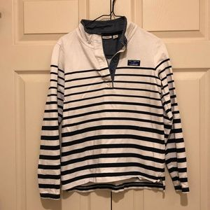 Navy and white LL Bean pullover